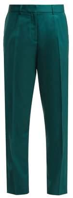 Roche Ryan Wool Crepe Straight Leg Trousers - Womens - Dark Green