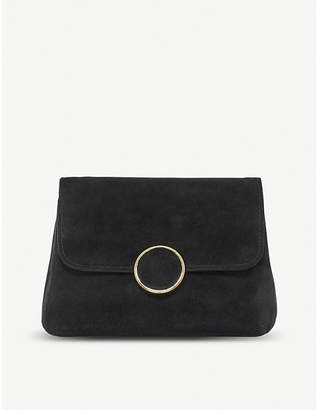 Dune Bonie suede and leather clutch bag
