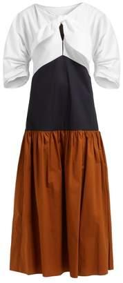 Isa Arfen Summer Holiday Contrast Panel Cotton Dress - Womens - Multi