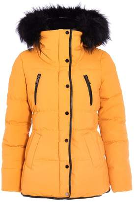 Quiz Mustard Padded Faux Fur Jacket