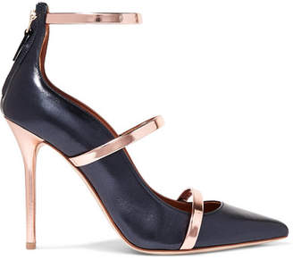 Malone Souliers by Roy Luwolt - Robyn Metallic Leather-trimmed Pumps - Navy