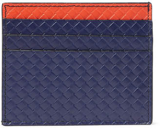Bottega Veneta Micro Embossed Leather Cardholder - Navy