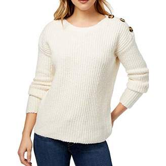 Kensie Women's Punk Yarn Sweater with Button Detail