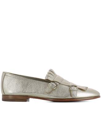 Santoni Gold Leather Loafers