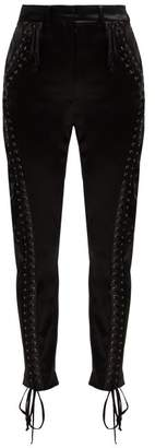 Dolce & Gabbana Lace Up Satin Trousers - Womens - Black