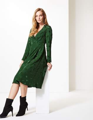 Marks and Spencer Embroidered Long Sleeve Wrap Midi Dress