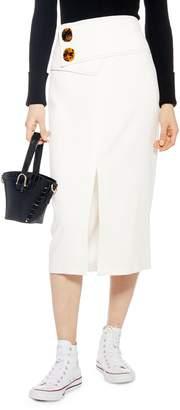 Topshop Button Waist Skirt