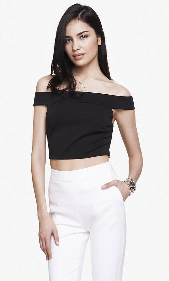 Off The Shoulder Knit Cropped Top