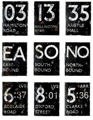 London Bus Route Signs (Set of 9) by Aidan Gray