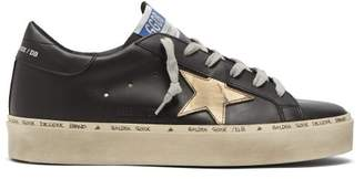 Golden Goose Deluxe Brand - Hi Star Exaggerated Sole Leather Trainers - Womens - Black Gold