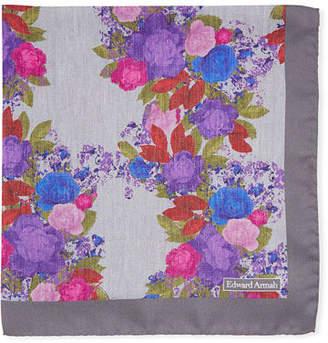 Edward Armah Watercolor Floral-Print Silk Pocket Square