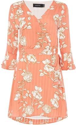 MinkPink Mink Pink Lovina patterned long sleeve wrap dress