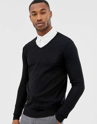 Asos DESIGN v-neck cotton sweater in black