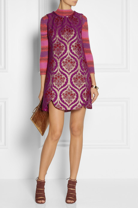 Anna Sui Striped ribbed fine-knit sweater