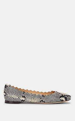 Chloé Women's Lauren Stamped Leather Flats - Light Gray