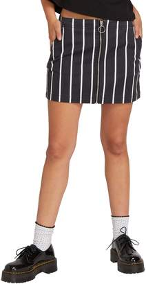 Volcom Frochickie Zip Front Stripe Denim Skirt