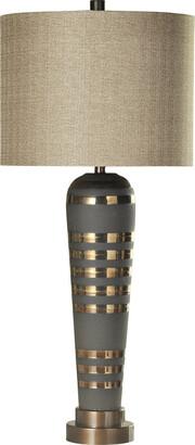 Stylecraft Style Craft Pelham Ceramic Body & Brushed Brass Metal Base Table Lamp