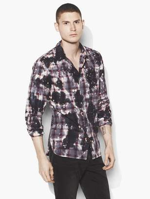 John Varvatos Bleached Grid Plaid Shirt