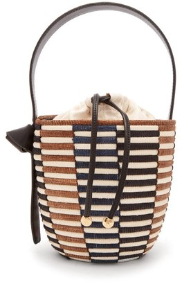 Cesta Collective - Checkerboard Sisal Basket Bag - Womens - Black Brown