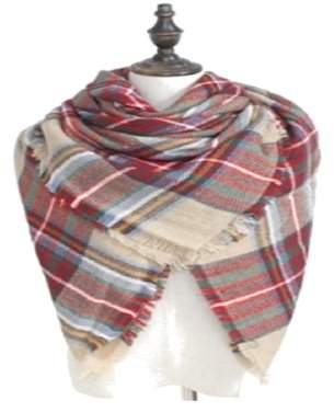 Buffalo David Bitton SkyRock Women's Soft & Warm Chunky Plaid Blanket Shawl Scarf for Fashion Wear- Cherry Apple