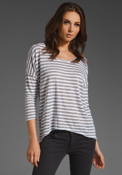 Velvet Nadalia Heather Grey Stripe Long Sleeve Top