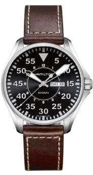 Hamilton Khaki Aviation Pilot Stainless Steel Leather Strap Watch