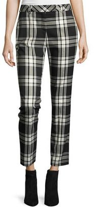 Trina Turk Aubree 2 Cropped Plaid Pants, Black/Silver $268 thestylecure.com
