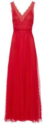Marchesa Chantilly Lace-Trimmed Plissé-Tulle Gown