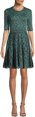 M Missoni Geometric Devore Half-Sleeve Dress