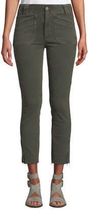 Paige Hoxton Utilitarian Skinny Ankle Jeans with Raw Hem