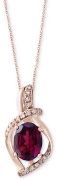"Effy Rhodolite (1-1/2 ct. t.w.) & Diamond (1/10 ct. t.w.) 18"" Pendant Necklace in 14k Rose Gold"