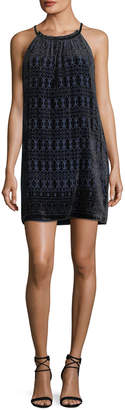 Max Studio Velvet Burnout Halter Dress