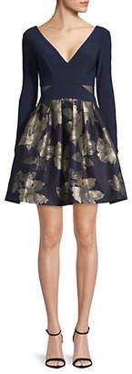 Xscape Evenings Floral Brocade Fit--Flare Dress