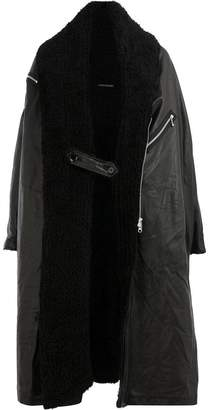 Yohji Yamamoto long wool collar leather coat
