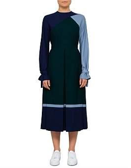 BODICE Box Pleated Long Sleeve Maxi Dress
