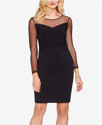 Vince Camuto Mesh-Yoke Sheath Dress