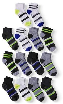 Athletic Works Half Cushion Ankle Socks, 12 + 2 Bonus Pack (Little Boys & Big Boys)