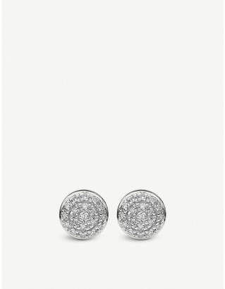 Monica Vinader Fiji mini button silver and diamond stud earrings