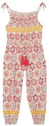 Mantaray Girls' Multi-Coloured Tile Print Jumpsuit