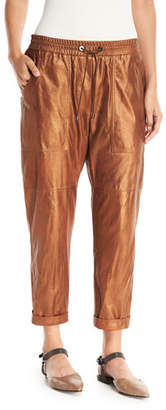 Brunello Cucinelli Metallic Leather Cropped Utility Pants