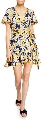Cinq à Sept Cameron Floral Silk Flounce Short Dress