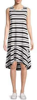 Lord & Taylor Plus Asymmetrical-Hem Stripe Dress