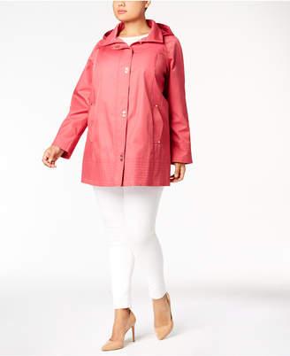 Jones New York Plus Size Hooded Turn-Lock Raincoat