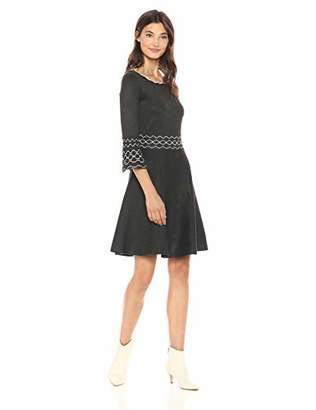 Gabby Skye Women's 3/4 Bell Sleeve Round Neck Sweater Fit and Flare Dress