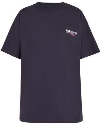 Balenciaga - Logo Print Cotton T Shirt - Mens - Navy