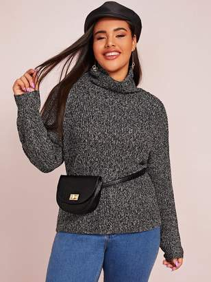 Shein Plus Funnel Neck Marled Rib-knit Sweater Without Bag
