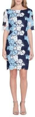 Tahari Arthur S. Levine Multi-Color Lace Sheath Dress
