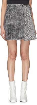 Aalto Asymmetric flared panel check plaid mini skirt