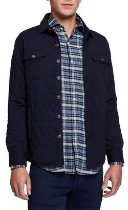 Peter Millar Men's Quilted Pima Cotton-Cashmere Button-Down Jacket