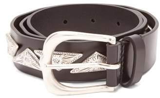 Isabel Marant Nyzo Metal Embellished Leather Belt - Womens - Black